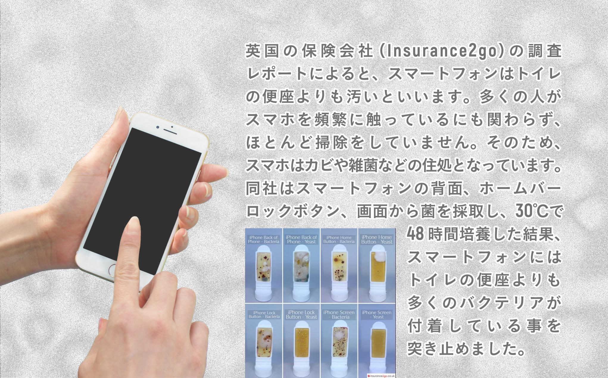 英国の保険会社(Insurance2go)の調査レポートによると、スマートフォンはトイレの便座よりも汚いといいます。多くの人がスマホを頻繁に触っているにも関わらず、ほとんど掃除をしていません。そのため、スマホはカビや雑菌などの住処となっています。同社はスマートフォンの背面、ホームバーロックボタン、画面から菌を採取し、30℃で48時間培養した結果、スマートフォンにはトイレの便座よりも多くのバクテリアが付着している事を突き止めました。