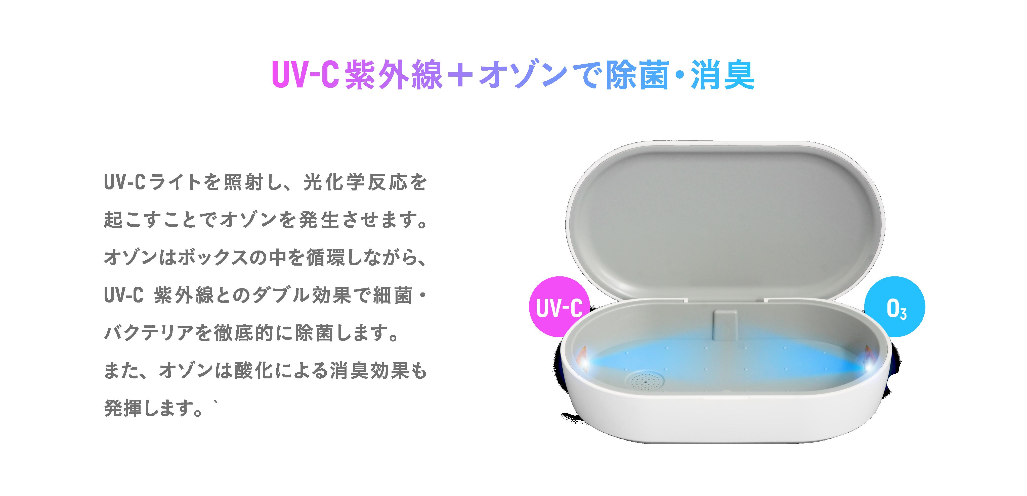 UV-C紫外線+オゾンで除菌・消臭