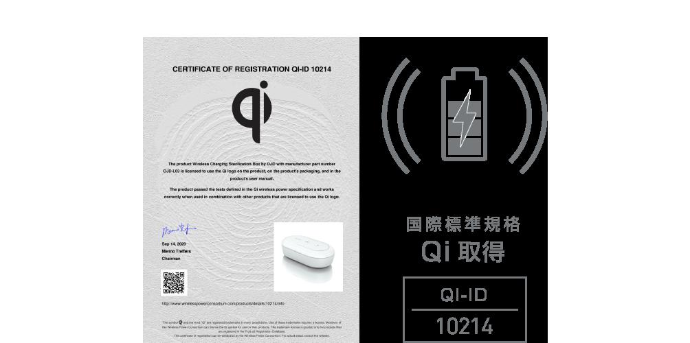 国際標準規格Qi取得 QiID-10214